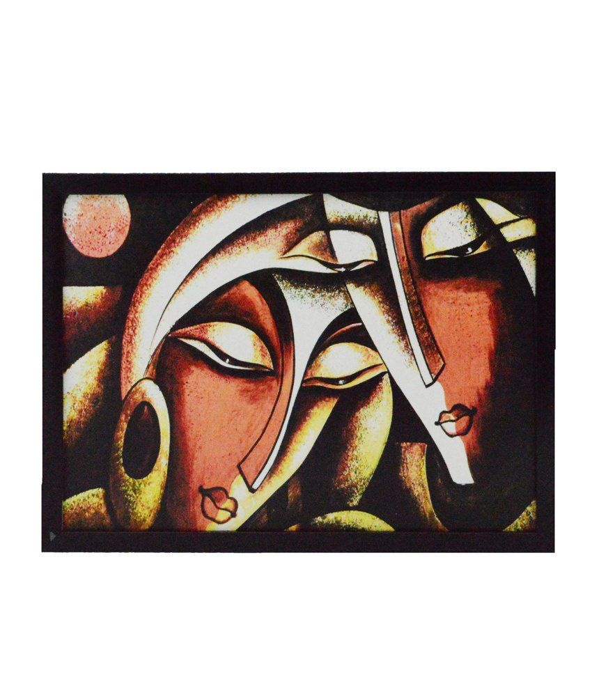 eCraftIndia Abstract Figures Satin Matt Texture Framed UV Art Print