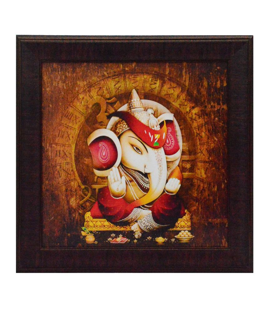 eCraftIndia Lord Ganesha Design Satin Matt Texture Framed UV Art Print