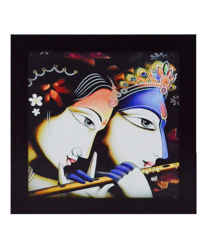 eCraftIndia Radha Krishna playing Flute Satin Matt Texture Framed UV Art Print