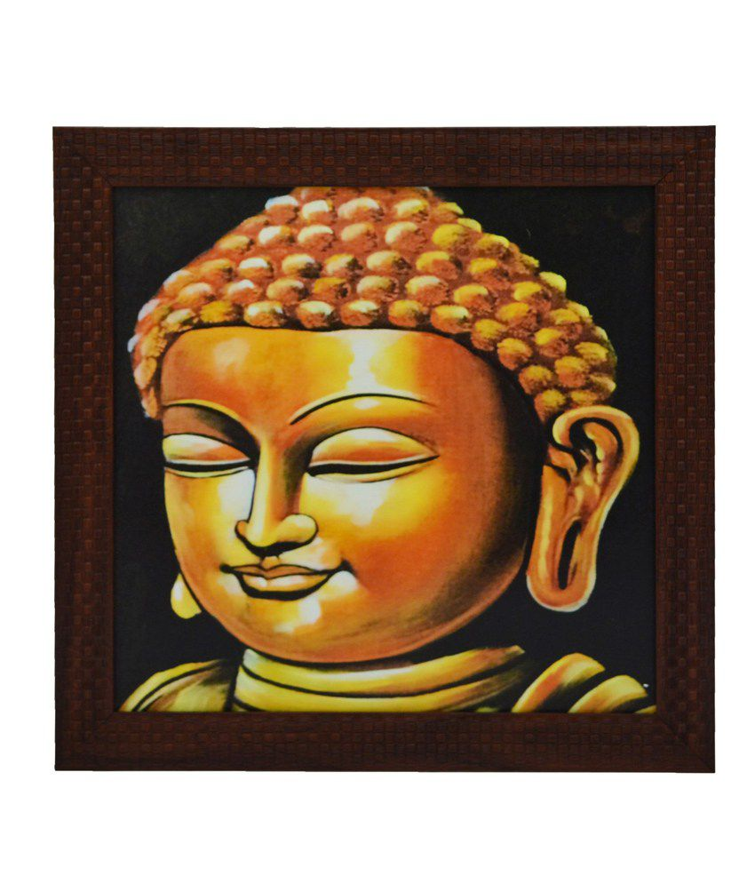 eCraftIndia Lord Buddha Design Satin Matt Texture Framed UV Art Print