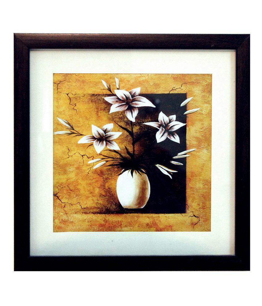 eCraftIndia Abstract Pot and Flower Theme Satin Matt Texture Framed UV Art Print