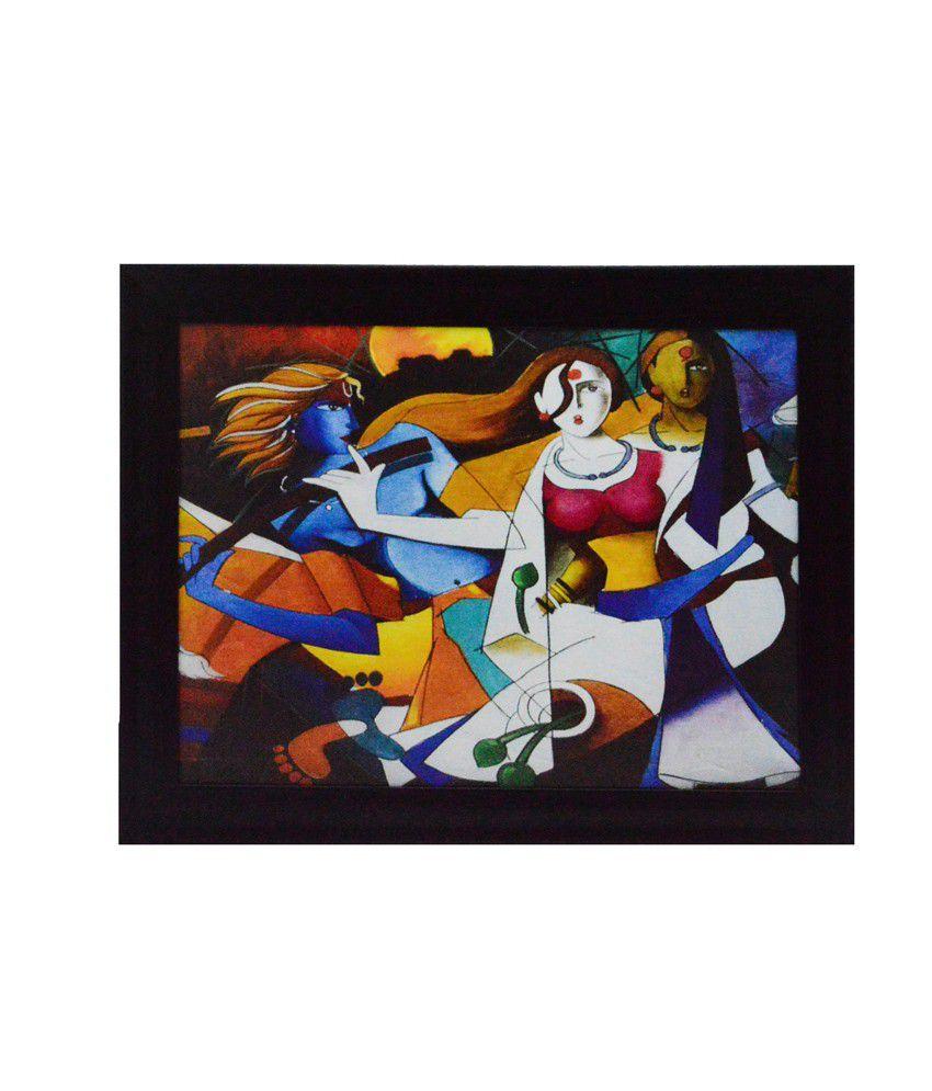 eCraftIndia Abstract Figures Design Satin Matt Texture Framed UV Art Print