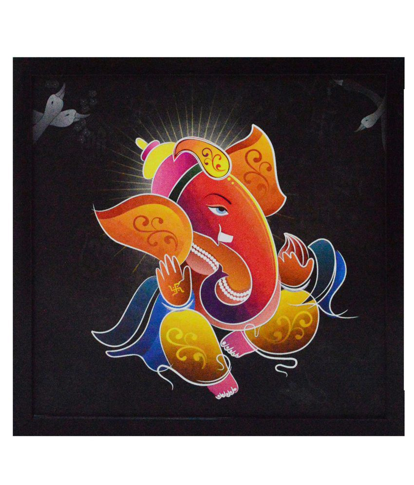 eCraftIndia Lord Ganesha Satin Matt Texture Framed UV Art Print