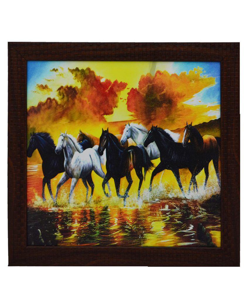 eCraftIndia Running Lucky Horses Design Satin Matt Texture Framed UV Art Print