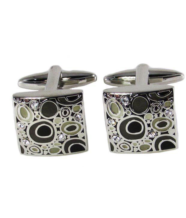 DNQ Silver Enamel Cufflinks For Mens