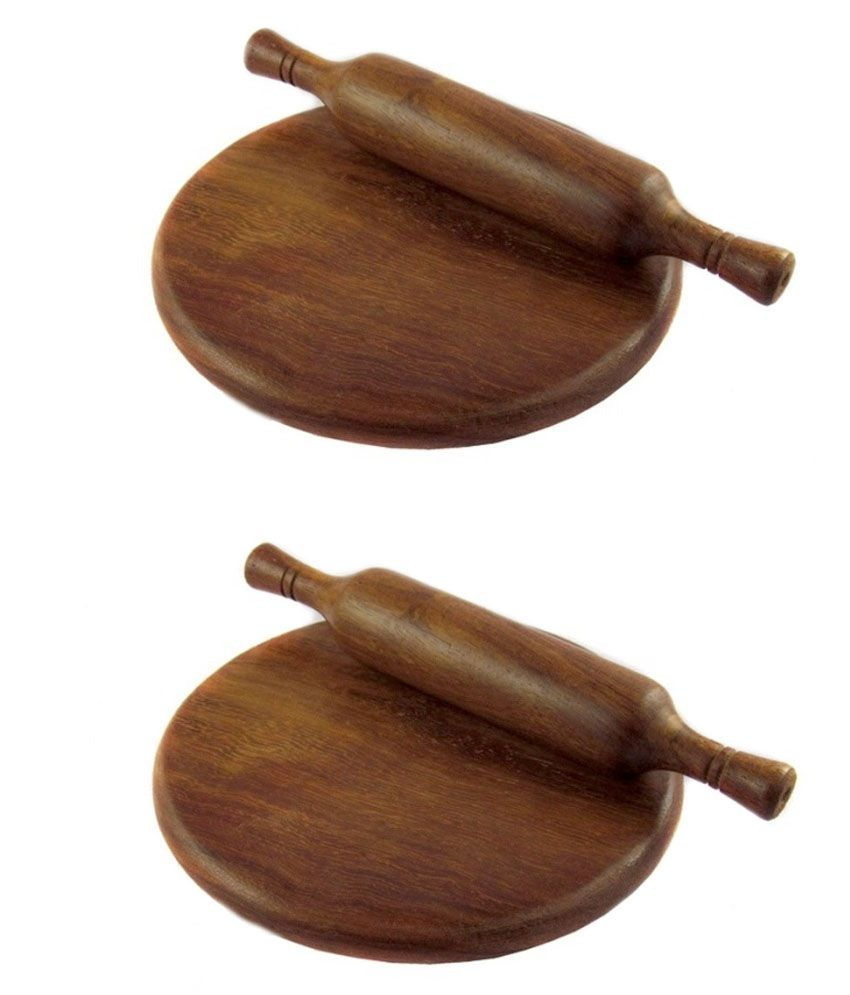 Vazeer And Sons Wooden Brown Colour Chakla Belan Set of 2