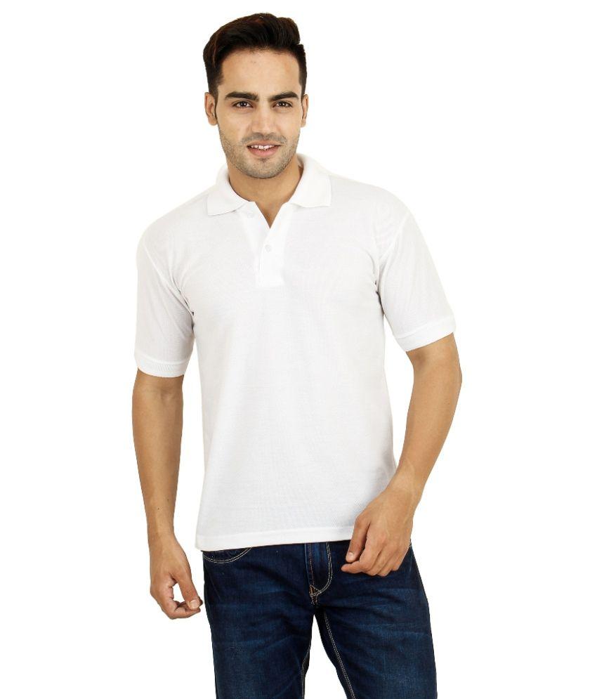 Zoom White Cotton Blend Polo T-shirt