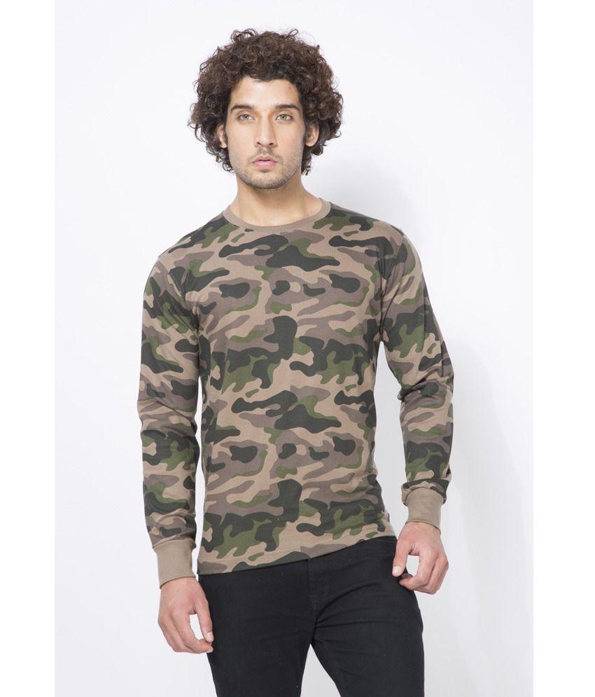 Clifton Mens Army R-Neck Full Slevee T-shirt-Walnut-XL
