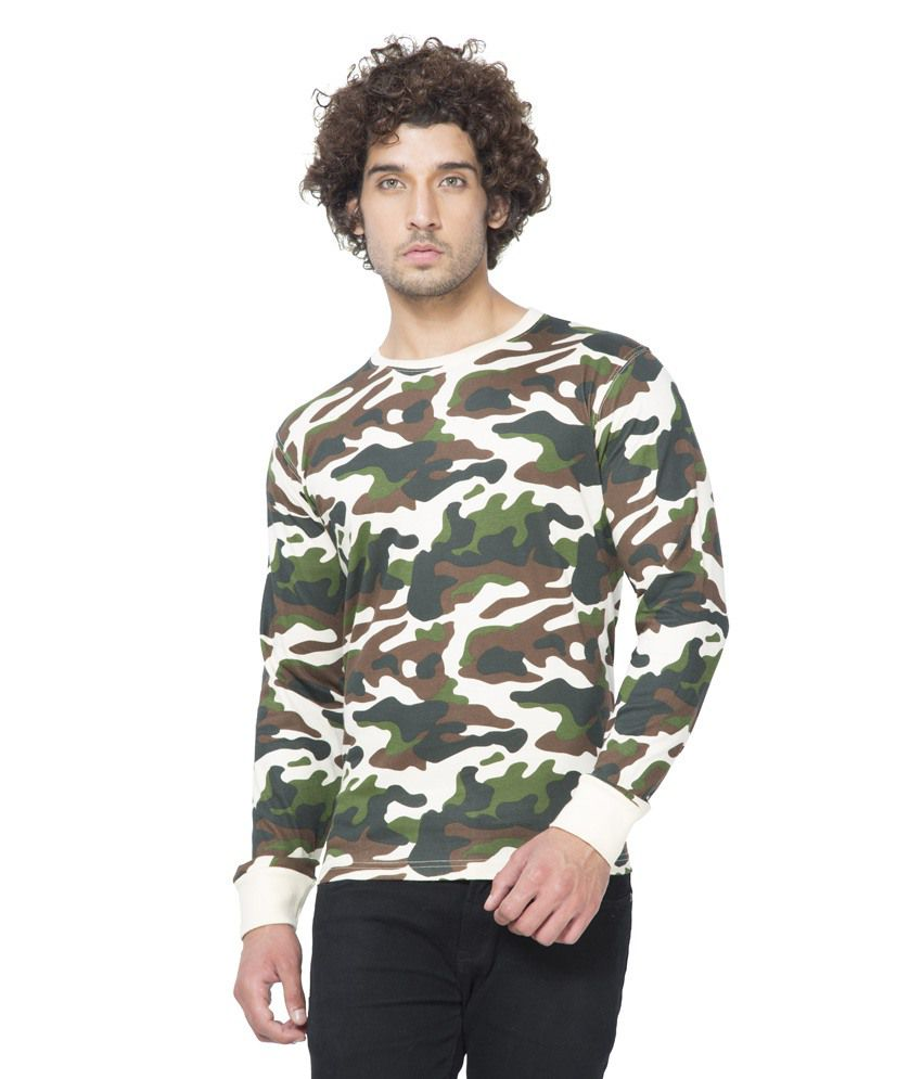 Clifton Mens Army R-Neck Full Slevee T-shirt-Offwhite-M