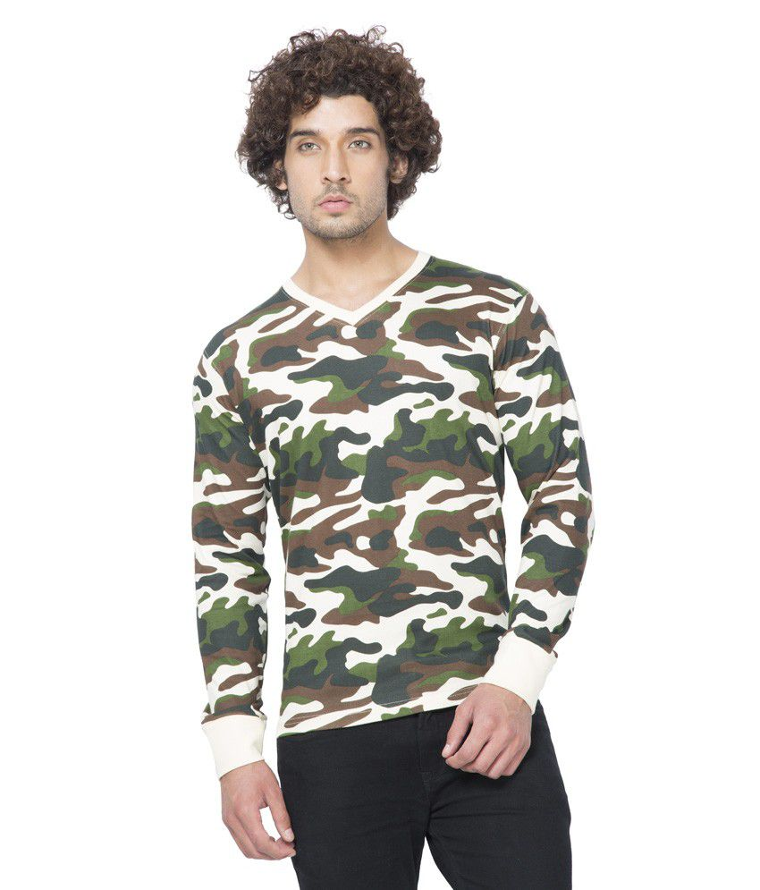 Clifton Mens Army V-Neck Full Slevee T-shirt-Offwhite-L