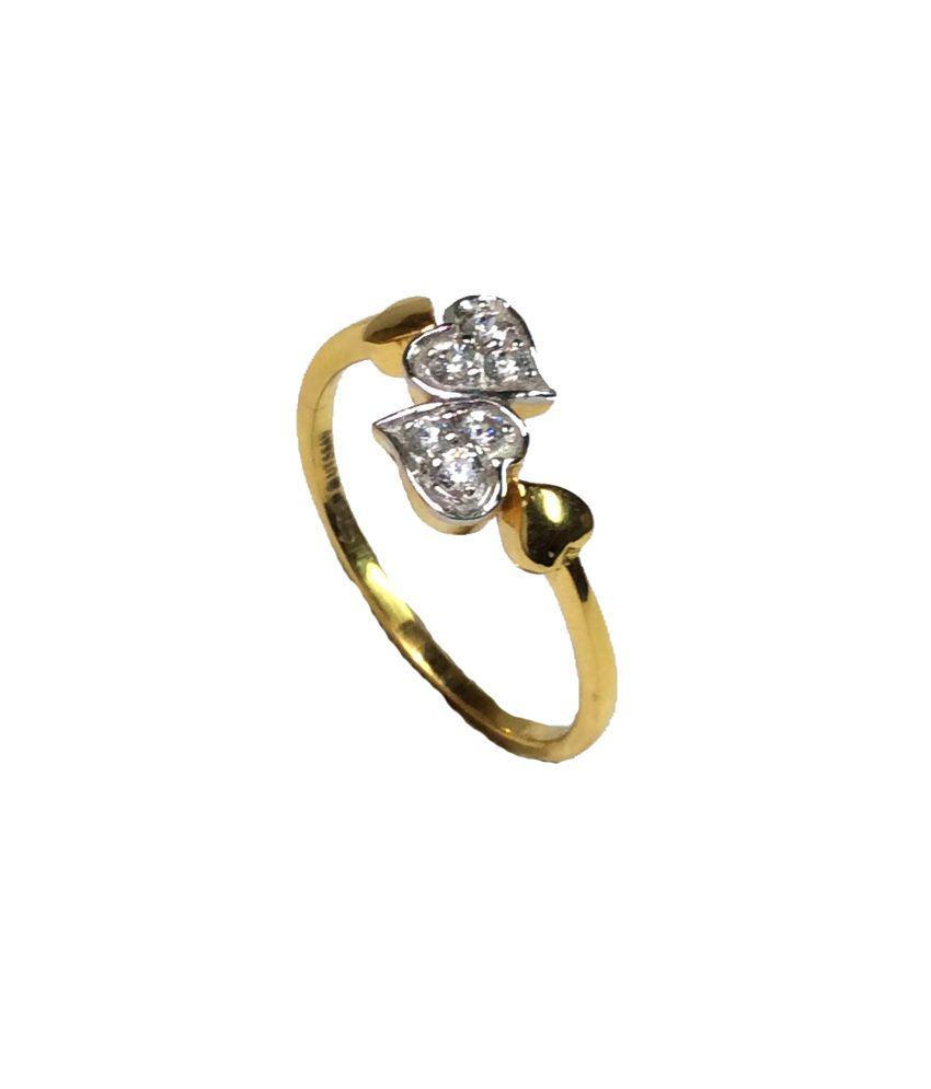 Kataria Jewellers 18KT Gold Hearts Ladies Ring with Swarovski Cubic Zirconia