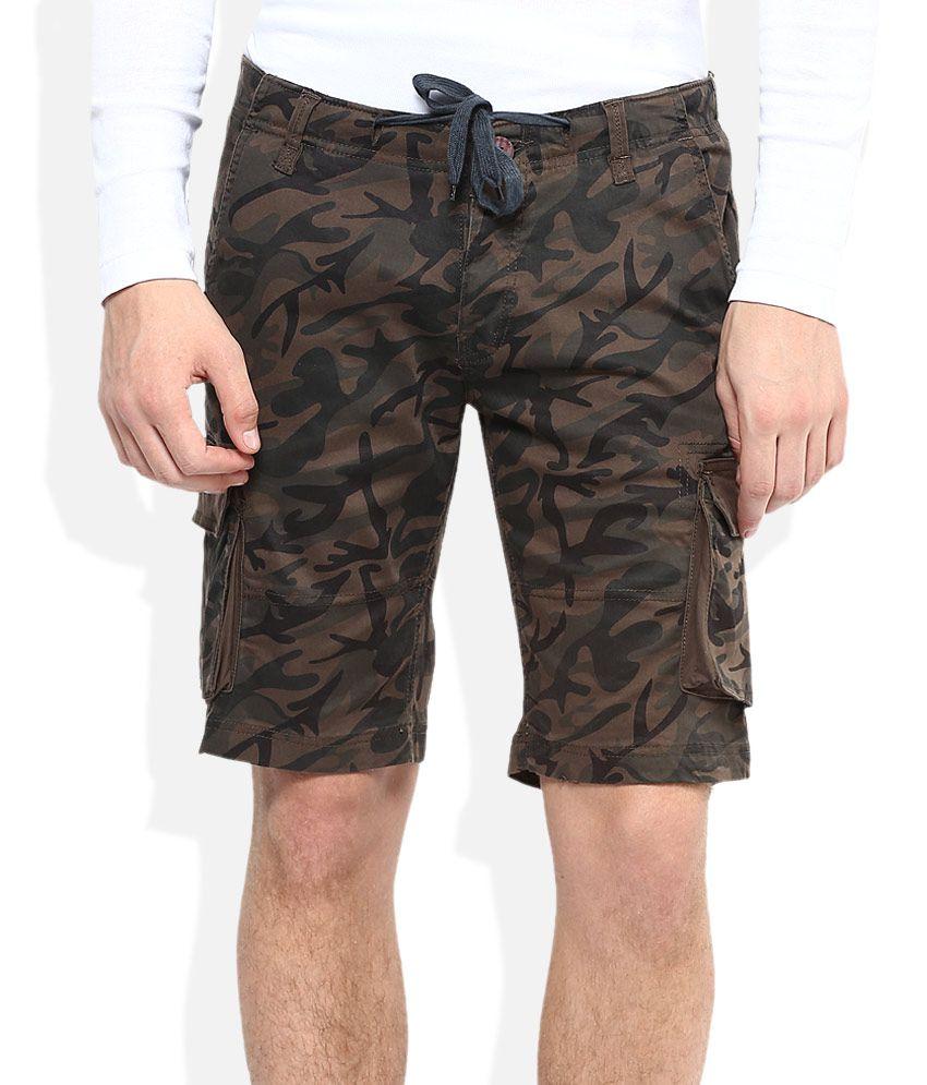 American Swan Brown Printed Shorts