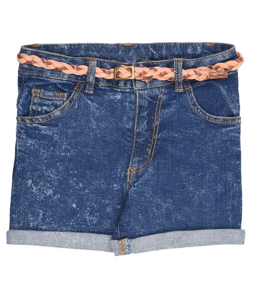 Coffee Bean Blue Shorts For Girls