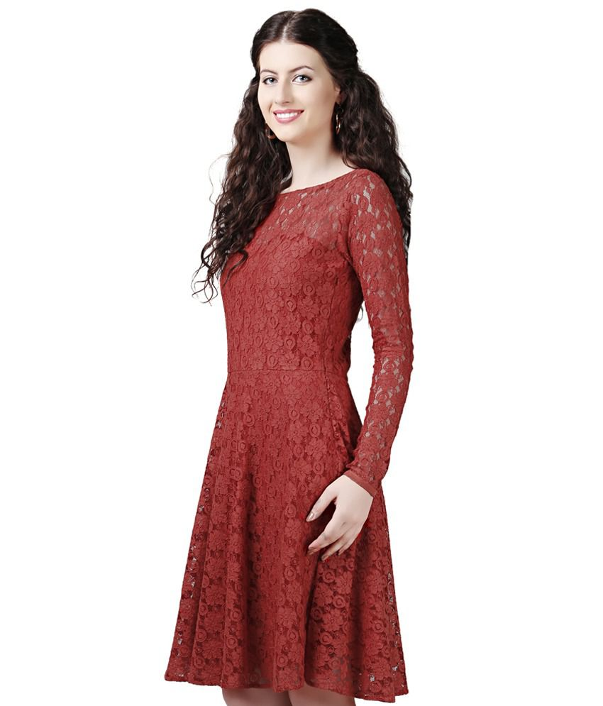 185a1d1cc04e Eavan Rust Lace Fit   Flare Dress - Buy Eavan Rust Lace Fit   Flare Dress  Online at Best Prices in India on Snapdeal