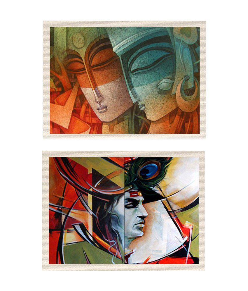 MeSleep Abstract Radha-Krishna Canvas Painting without Frame - Combo