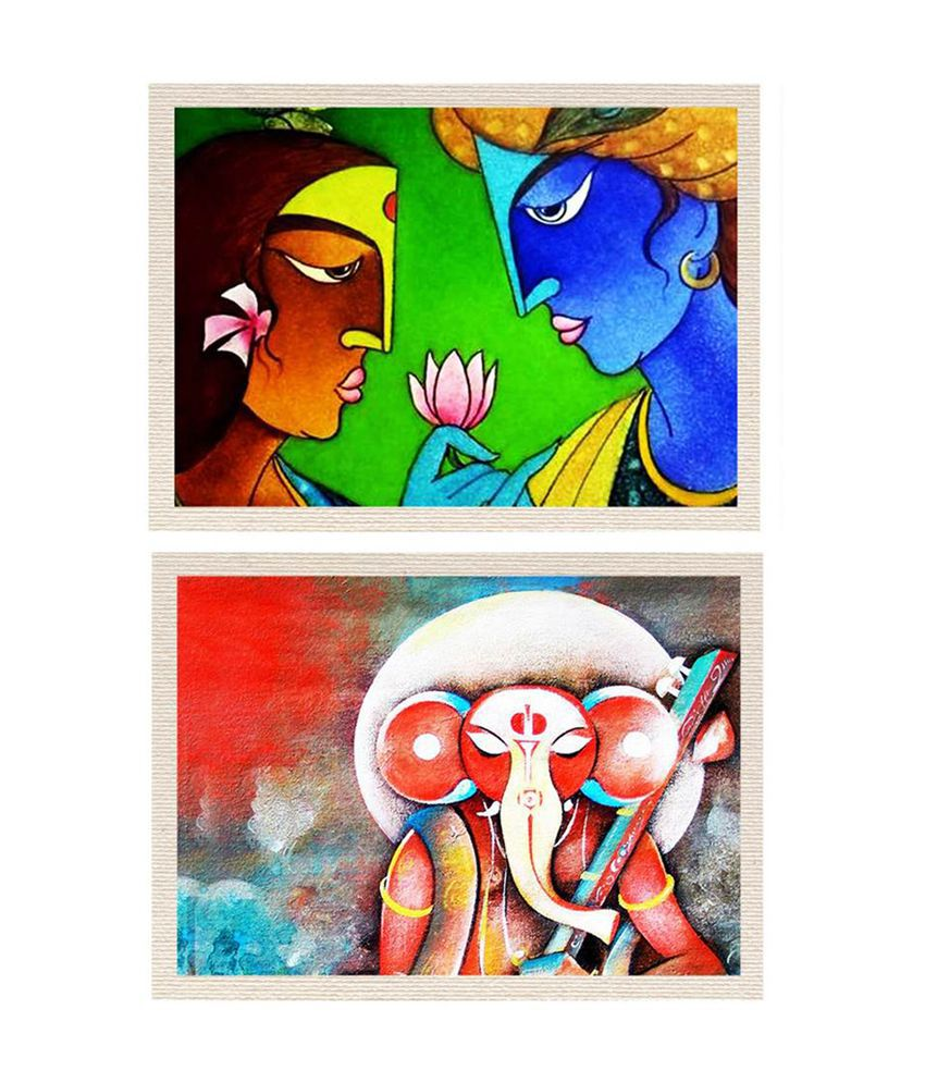 MeSleep Lord Ganesha and Radha Krishna Canvas Painting without Frame - Combo