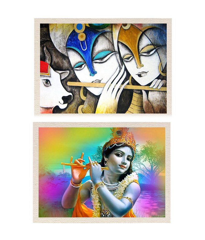 MeSleep Radhe-Krishna Canvas Painting without Frame - Combo