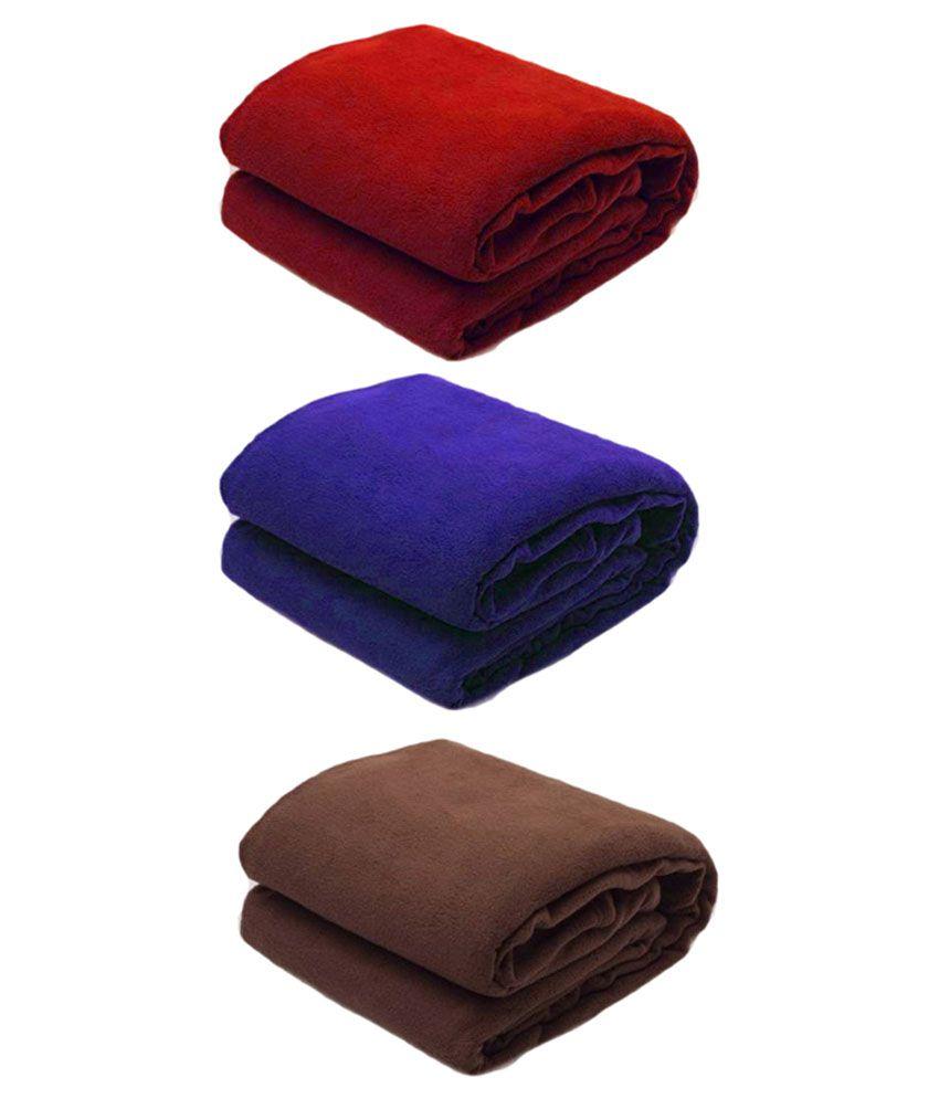Saksham Multicolour Polyester Single Polar Fleece Blanket - Pack Of 3