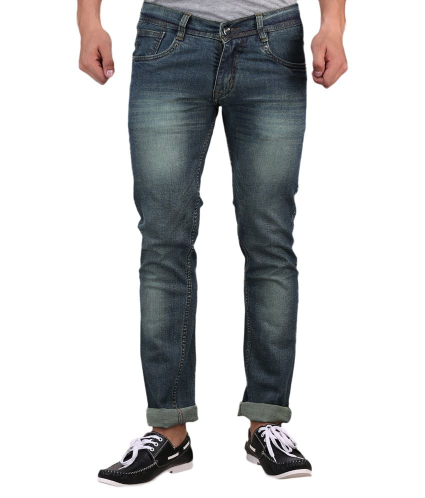 X-CROSS Greenish Blue Regular Fit Jeans