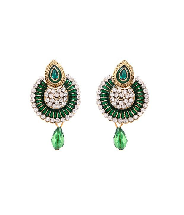 Bollywood inspired Traditional Green Hanging Earrings By GoldNera