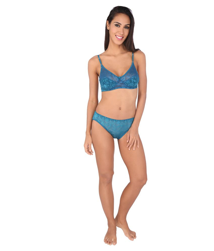 867fed45d3e6 Buy Bralux Women's Madhu Lace Full Cup B Bra & Panty Set Steel Blue ...