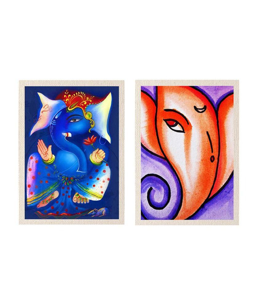 MeSleep Vighnahara Shree Ganesha Canvas Painting without Frame - Combo