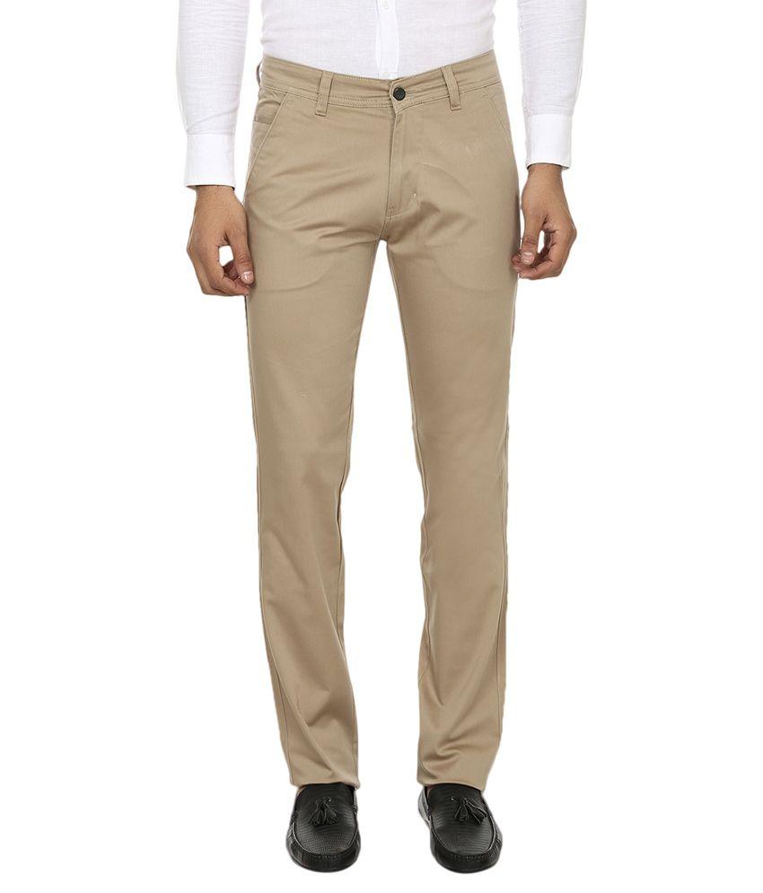 Zapnak Beige Cotton Blend Regular Fit Formal Trouser
