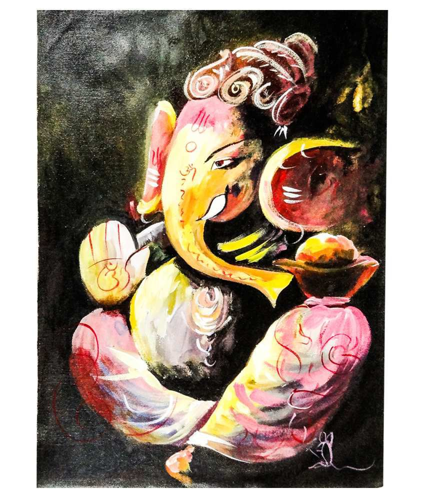 Ganesh ji canvas art painting by gifts n crafts buy for Where to buy canvas art