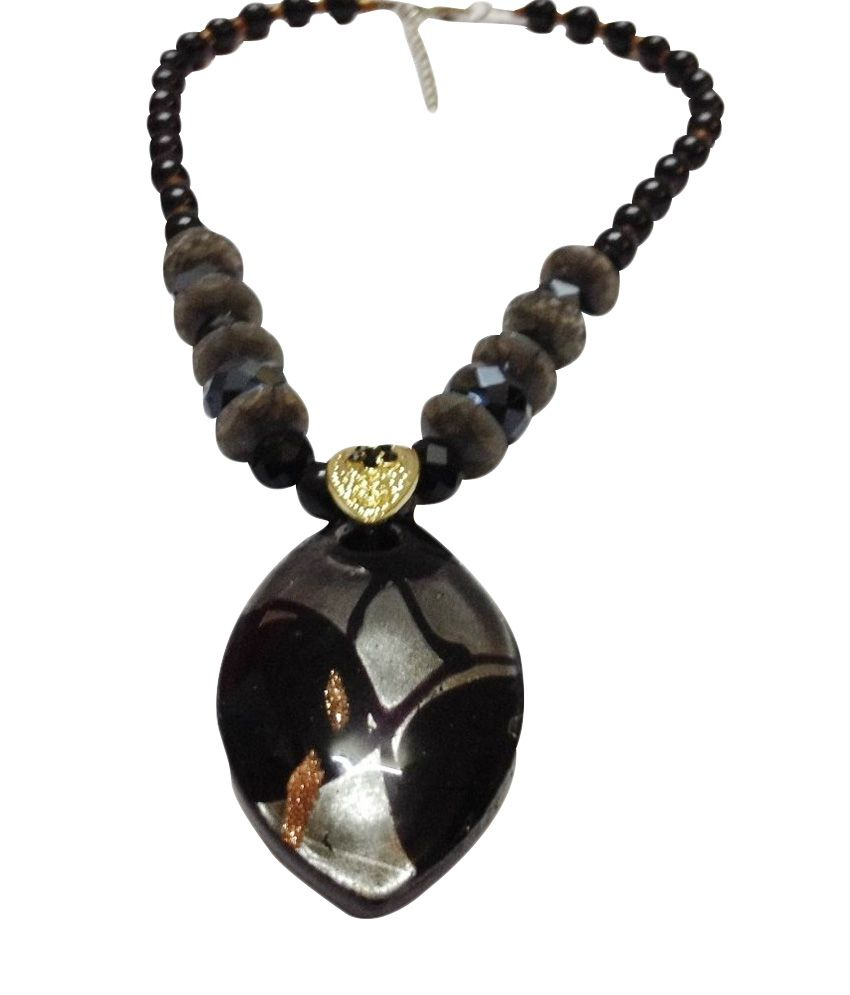 O Womaniya Black Alloy American Diamond Necklace  available at snapdeal for Rs.197