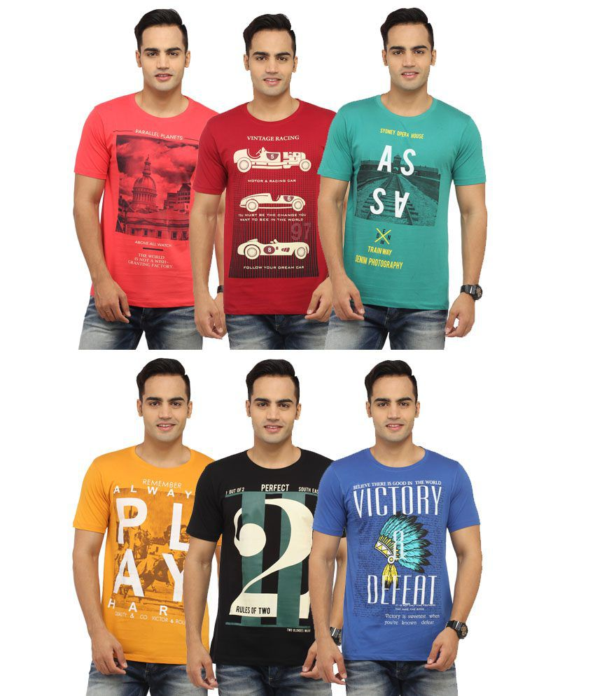 Victor & Rolf Multicolor Cotton Blend T-shirt-Pack of 6