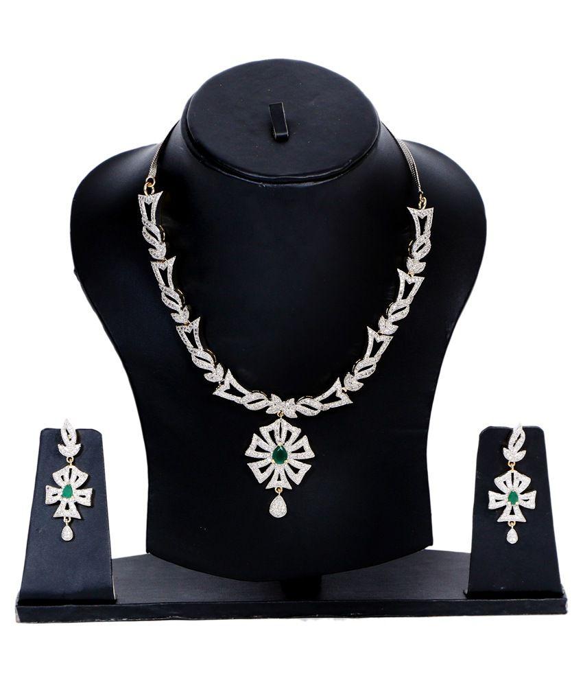 DecorAves Handicraft green Celestial Class American Diamond Necklace Set