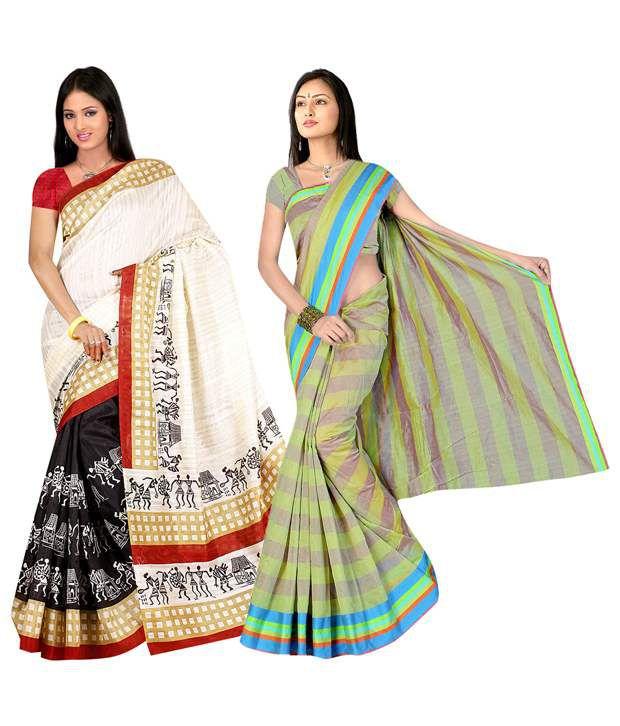 Indianefashion Multicolor Art Crepe Sarees Pack of 6