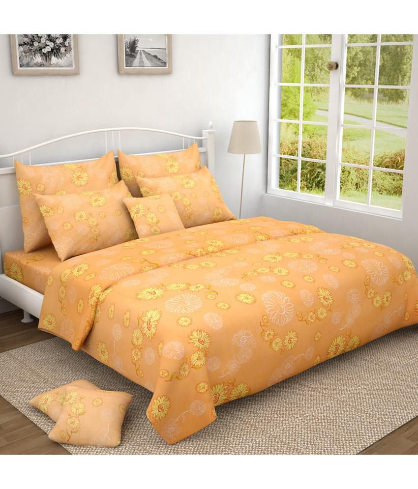 Oscar home orange yellow floral double bedsheet with 2 for Oscar home