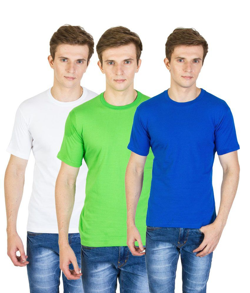 Value Shop India Pack of 3 Green, Blue & White Cotton T Shirts for Men