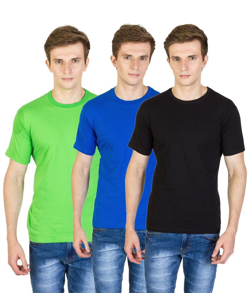 Value Shop India Pack of 3 Black, Green & Royal Blue Cotton T Shirts for Men