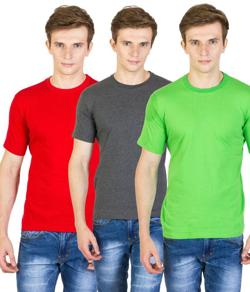 Value Shop India Pack of 3 Gray, Green & Red Cotton T Shirts for Men