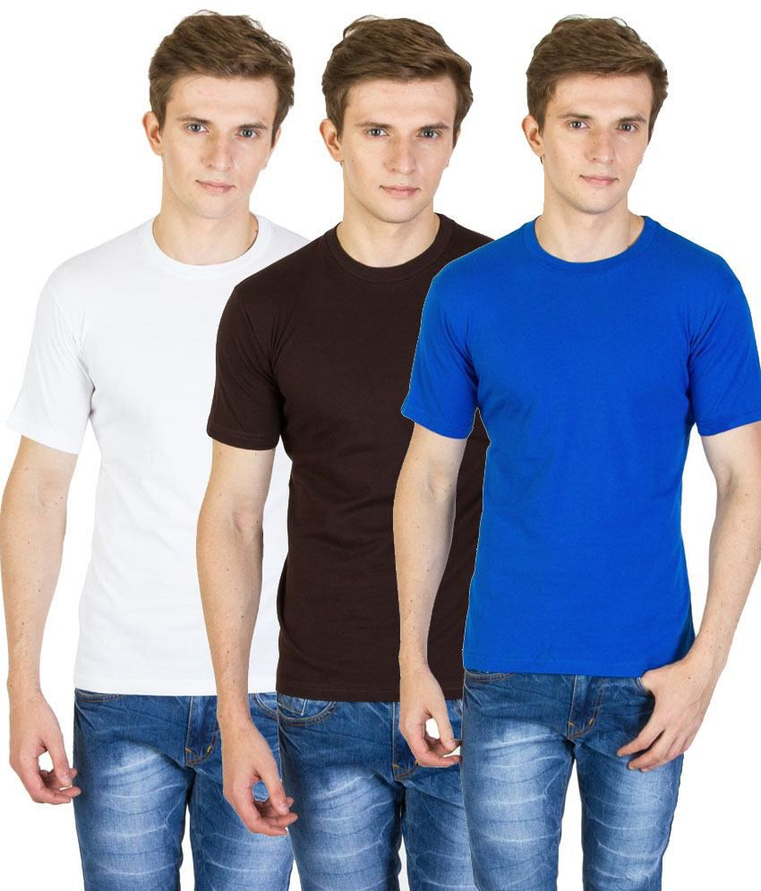 Value Shop India Pack of 3 Blue, Brown & White Cotton T Shirts for Men