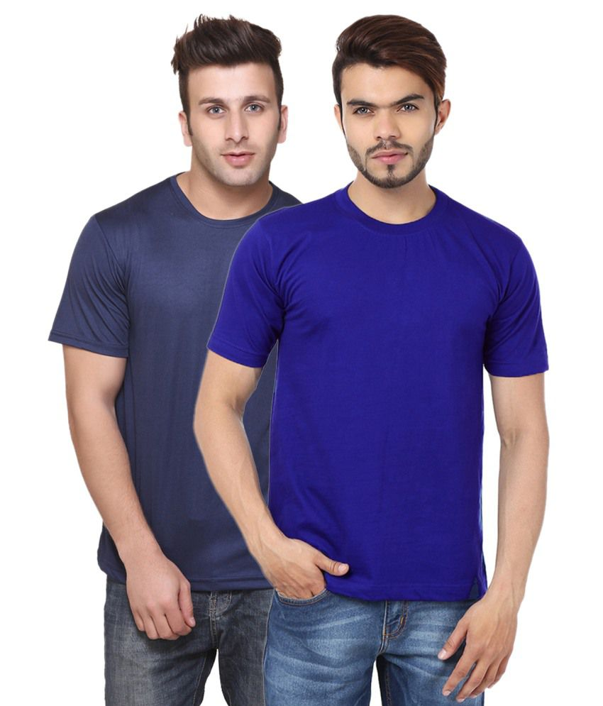 Funky Guys Navy And Dark Blue Cotton Blend T-shirt Set Of 2