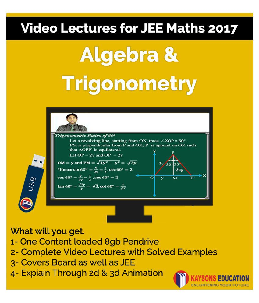 Kaysons Algebra and Trigonometry Video Lectures for JEE Mains and Advance in Pendrive/Micro Sd Card