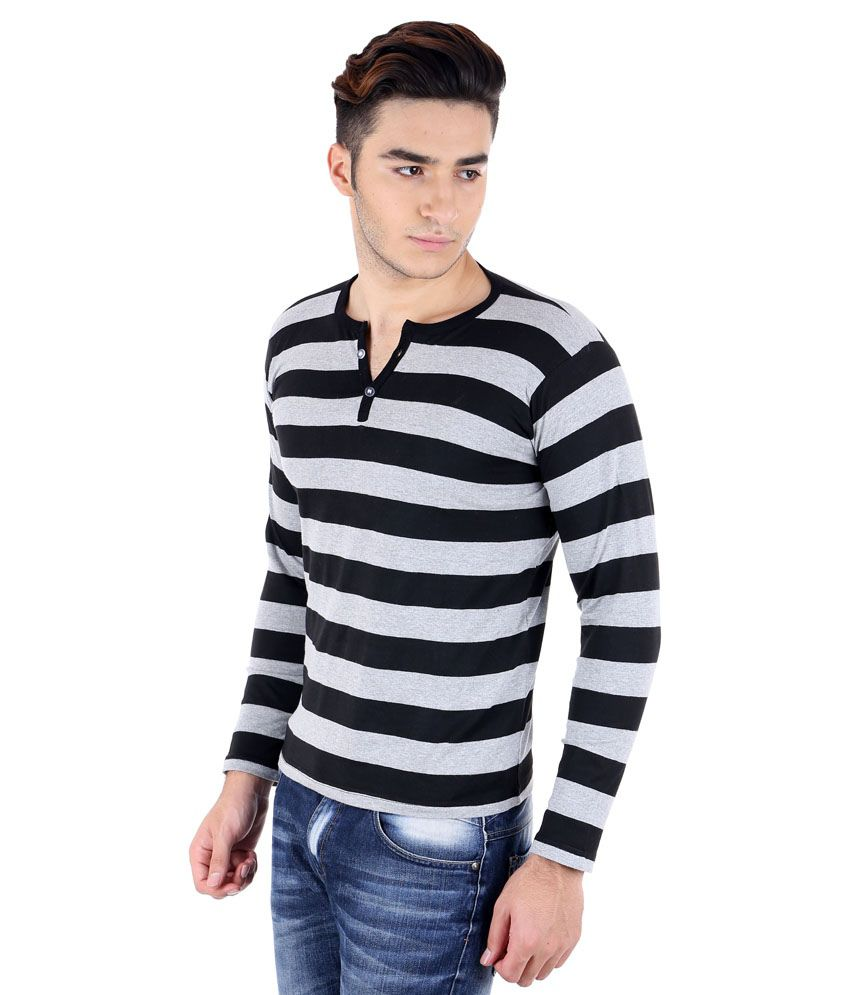 Black t shirt snapdeal -  Big Idea Smart Grey Black Striped Henely T Shirt