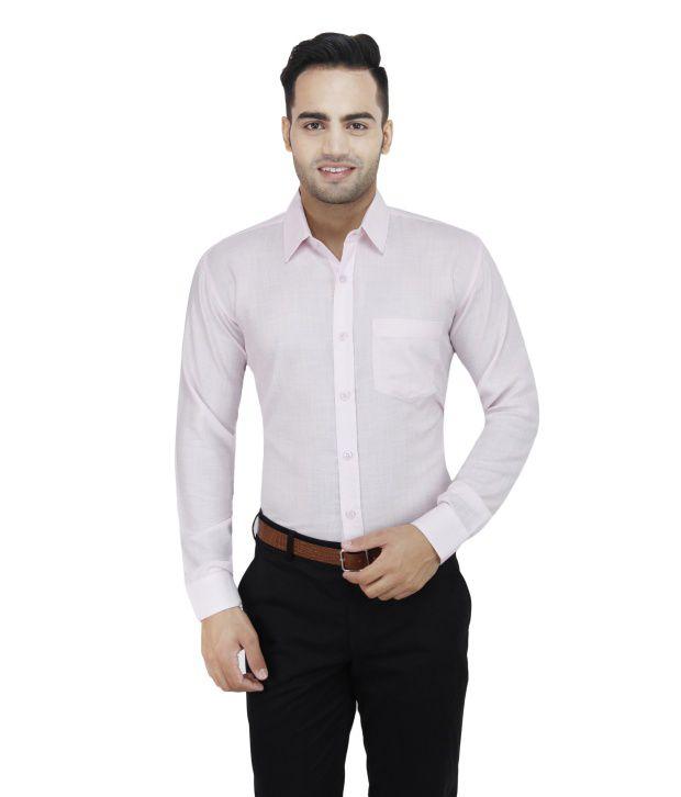 Leaf Pink 100 Percent Cotton Full Sleeves Regular Formal Shirt