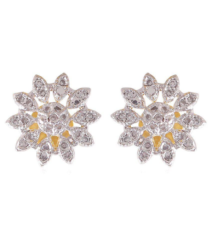 Shelters Golden & Silver Alloy Stud Earrings