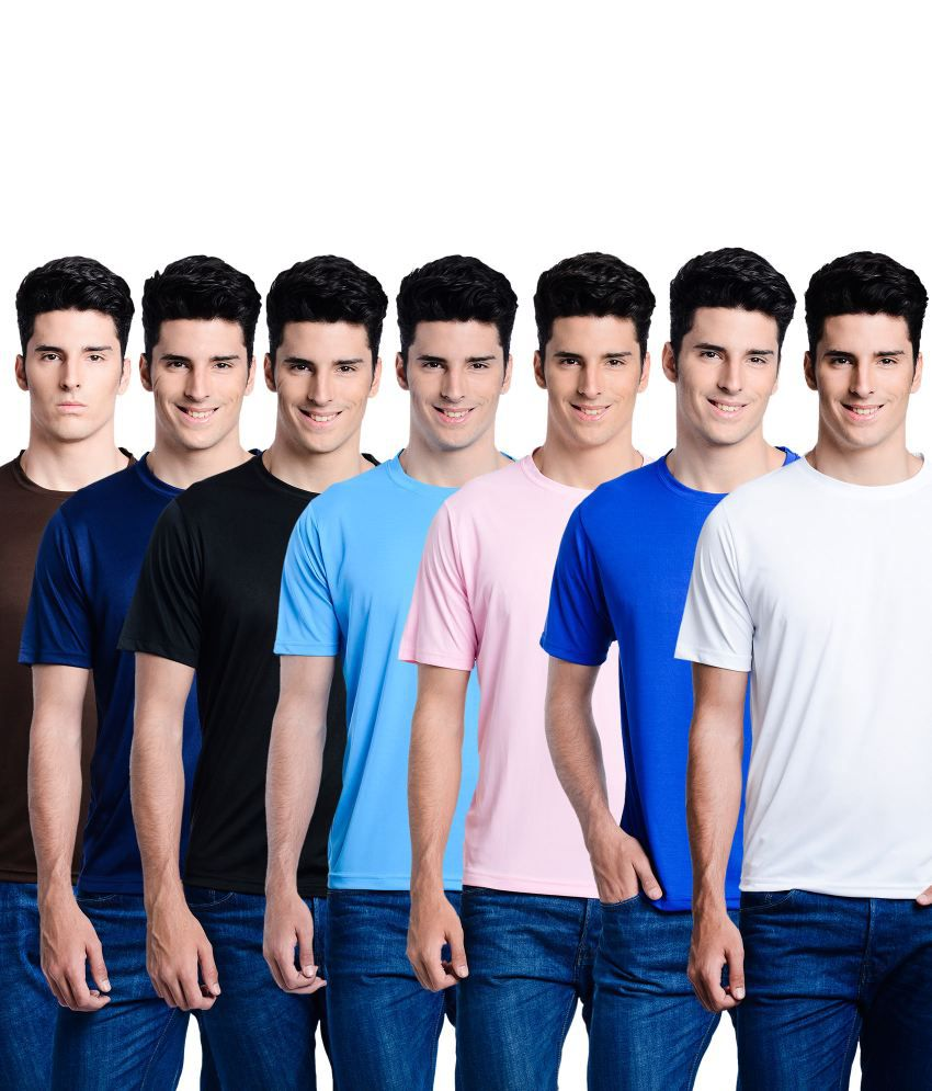 Superjoy Multicolor Polyester T-Shirt - Set Of 7