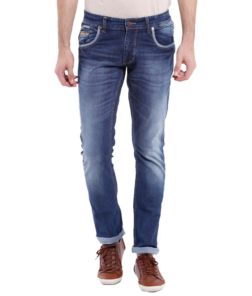 Vintage Dark Blue Slim Fit Jeans for Men