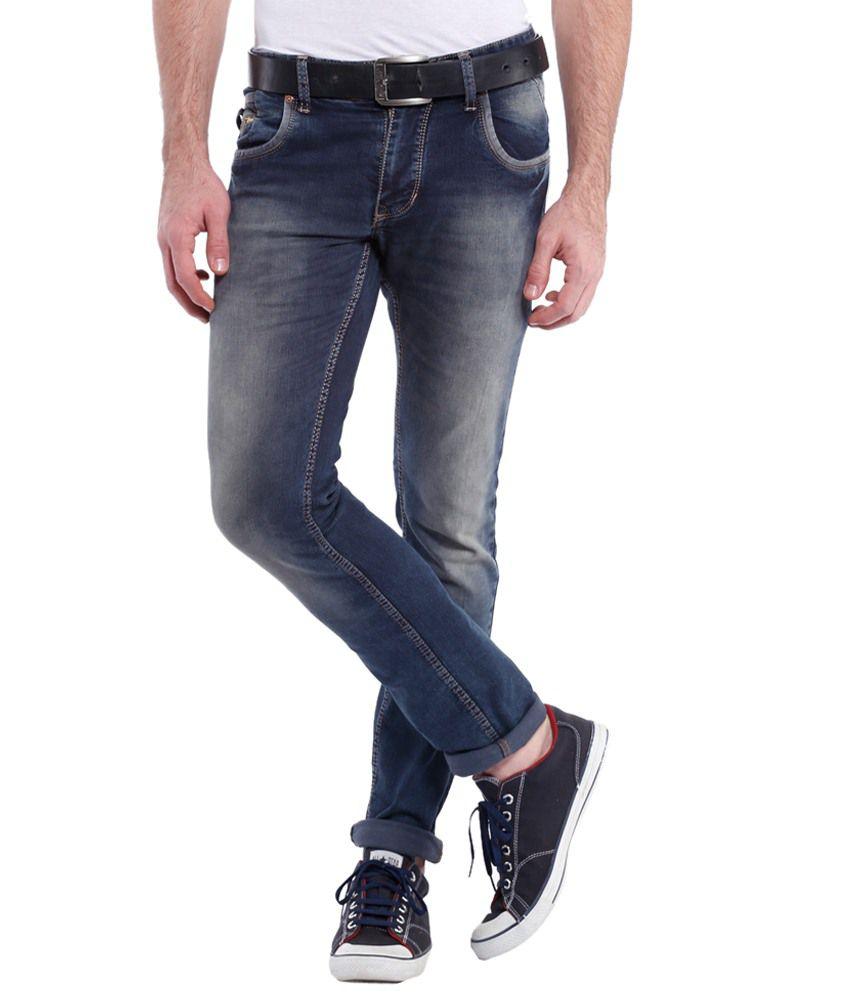 Vintage Navy Blue Slim Fit Jeans for Men