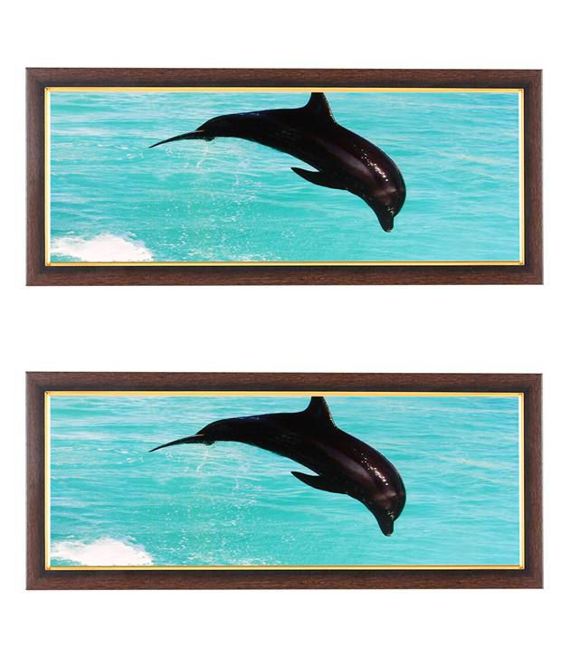 Wens Jumping Dolphin In Water Wall Art (Buy 1 Get 1)