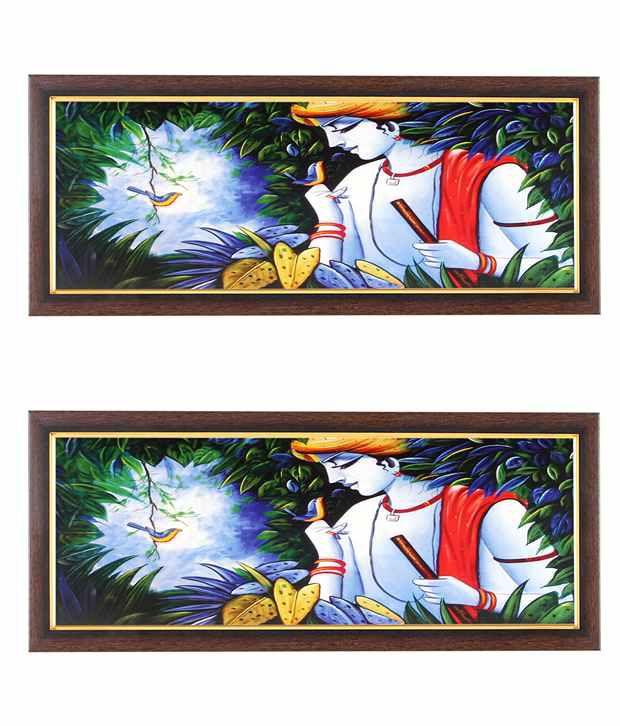 Wens Krishna With Birds Wall Art (Buy 1 Get 1)
