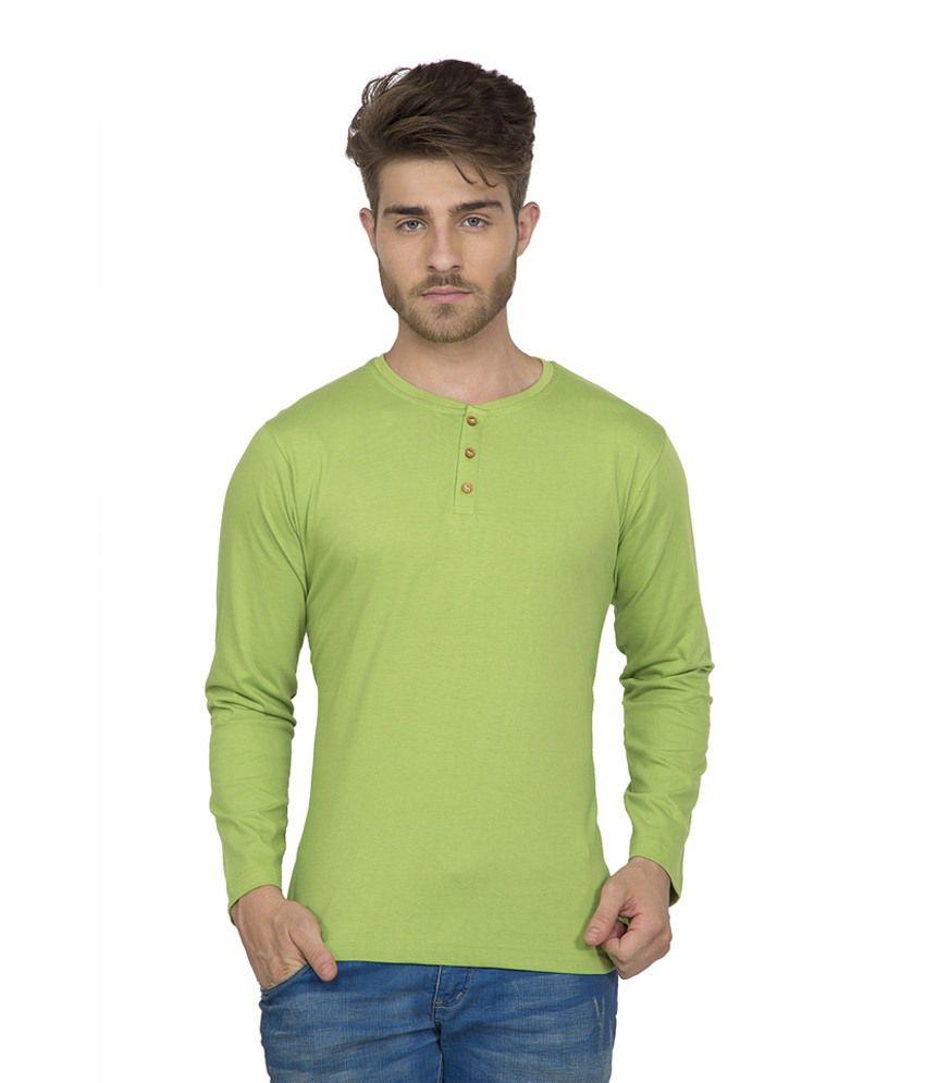 Clifton Men's Henley Cotton Full Sleeve T-Shirt-Parrot Green
