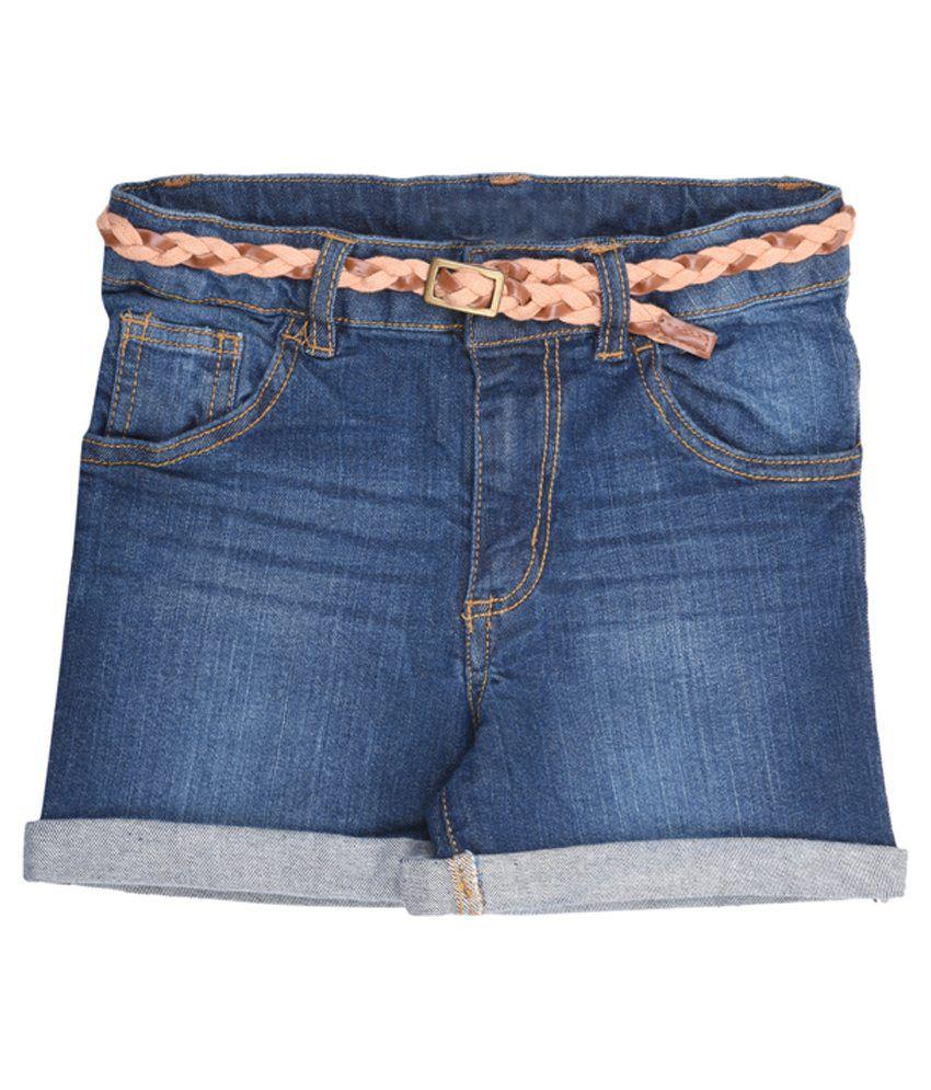 Coffee Bean Blue Cotton Shorts
