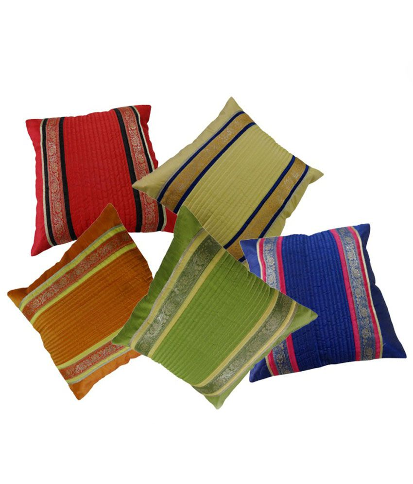 Direct Dukaan Ethnic Silk Cushion Covers - Set of 5